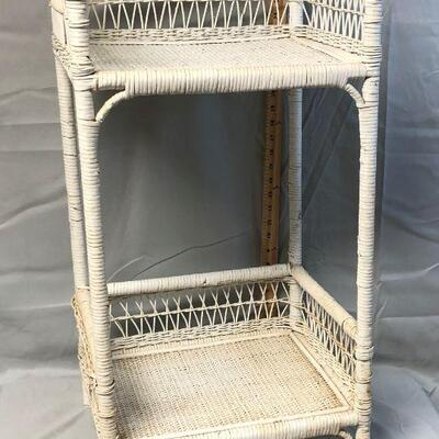 White Wicker Side Table LOCAL PICKUP ONLY