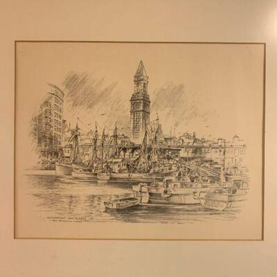 Jas F. Murray Etching Boston Waterfront  12