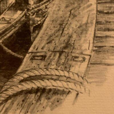 Jas F. Murray Etching T Wharf and Boston Harbor 12