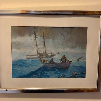 Framed water color / boats 12