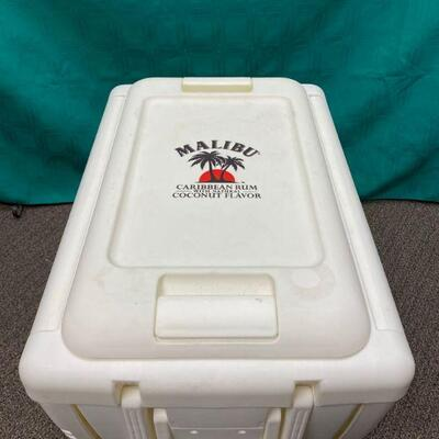 Malibu Rum White Ice Chest Cooler on Wheels with Fold Down Sides & Stools