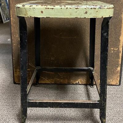 Vintage Lyon Metal Art Drafting Stool Chair