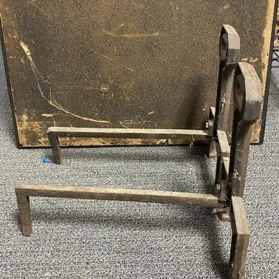 Pair of Mission Arts & Crafts Keyhole Heavy Iron Andirons