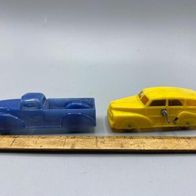 Pair of Vintage Plastic Toy Cars