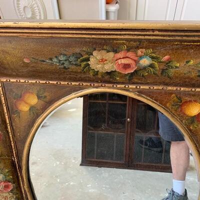 Large hand painted vintage mirror