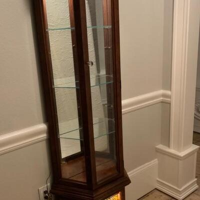 6 feet tall Curio with stain glass door st bottom