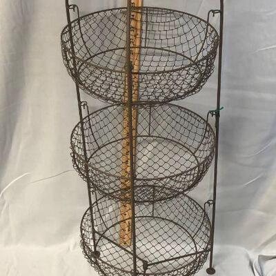 Lot 14 - 3 Tier Metal Wire Basket Stand LOCAL PICK UP ONLY