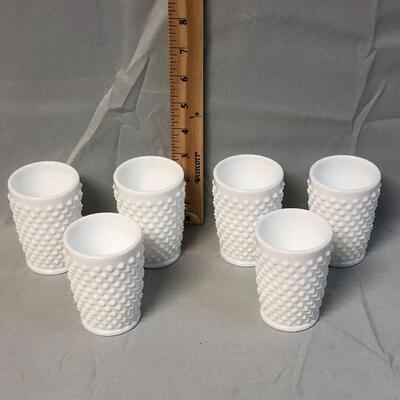 Lot 18 - 6 Milk Glass Hobnail Juice Glasses