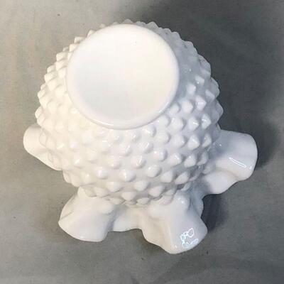 Lot 23 - Milk Glass Hobnail Double Ruffle Bud Vase