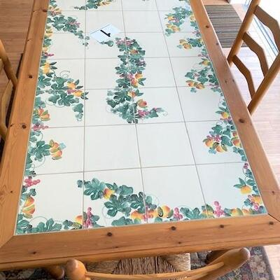 LOT#1LR: Nicola Faiano Grottaglie Italy Tile top Table with 4 Chairs & Area Rug