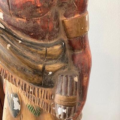 LOT#12LR: Plaster Cigar Store Indian on Pedestal