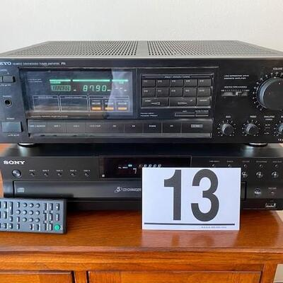 LOT# 13LR: Sony CD Disk Changer with Remote & Onkyo Synthesizer Tuner ROne