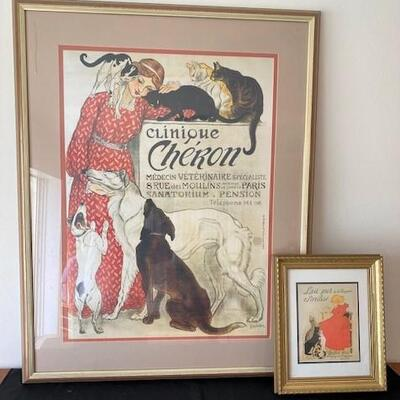 LOT#25LR: Theophile Steinlen of Paris Framed Posters