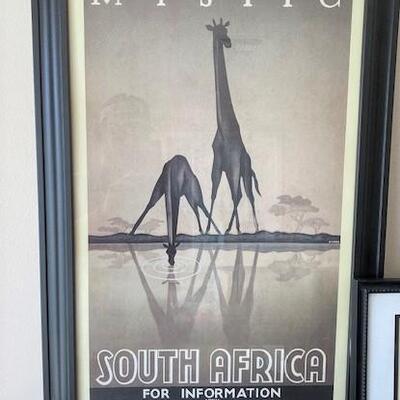 LOT#26LR: Trio Framed Safari Pictures