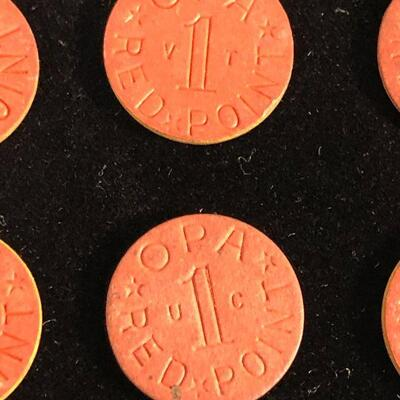 Lot 4 - 9 WWII OPA Red Food Ration Tokens
