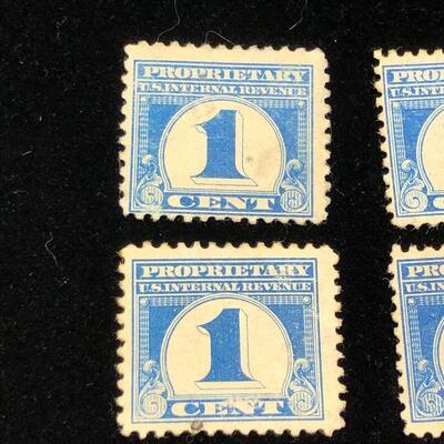 Lot 7 - 4 US Internal Revenue Proprietary Stamps