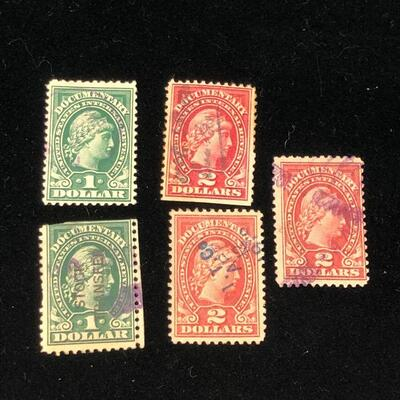Lot 9 - 5 US Internal Revenue Documentary Stamps