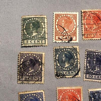 Lot 18 - 9 Queen Wilhelmina Netherlands Stamps