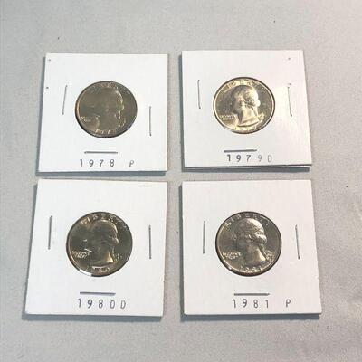 Lot 21 - 1978P, 1979D, 1980D, 1981P Quarters