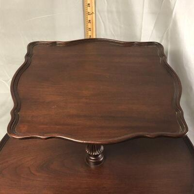 Lot 4 - Pie Crust Edge Two Tier Wood Table LOCAL PICKUP ONLY