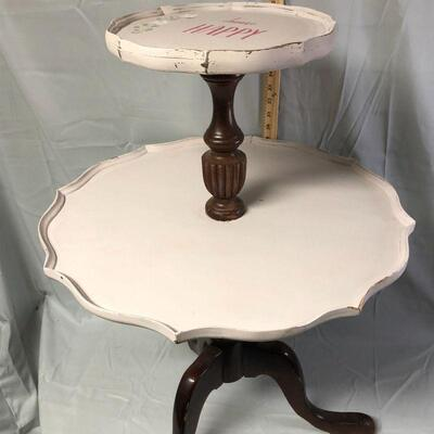 Lot 6 - Pie crust Two Tier Mahogany Table LOCAL PICKUP ONLY