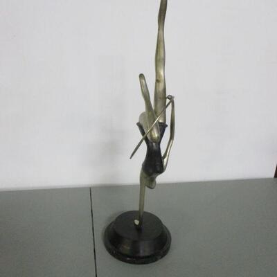 Lot 1 - Abstract Bronze Art Dancer Figurine Hula Hoop On Stand