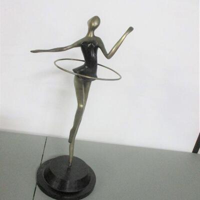 Lot 2 - Abstract Bronze Art Dancer Figurine Hula Hoop On Stand