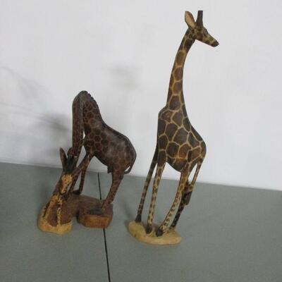 Lot 3 -Hand-Carved Wooden Giraffe Statues Decor