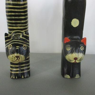 Lot 9 - Wooden & Ceramic Cat Figures