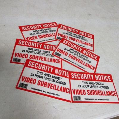 Lot 30 - Set Of 6 Security Notices - Video Surveillance Stickers