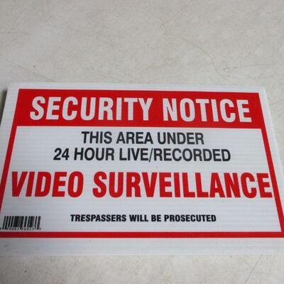 Lot 32 -  Set Of 5 Security Notices - Video Surveillance Placards