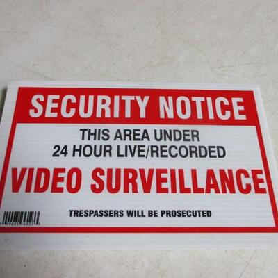 Lot 33 - Set Of 5 Security Notices - Video Surveillance Placards
