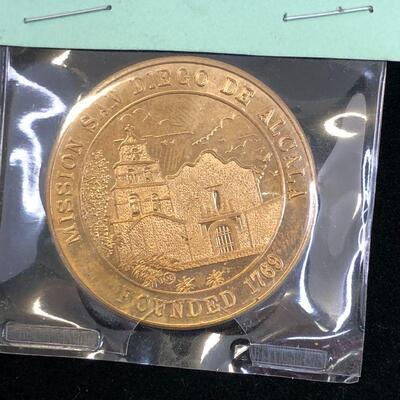 Lot 5 - Commemorative Coin Mission San Diego de Alcala