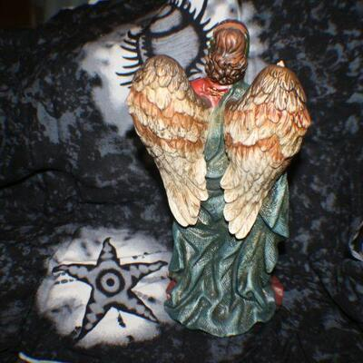 Ceramic Angel Pink with Green Sash Arms Spread Dark Hair