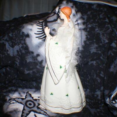 Porcelain Praying Irish Angel with Feather Wings