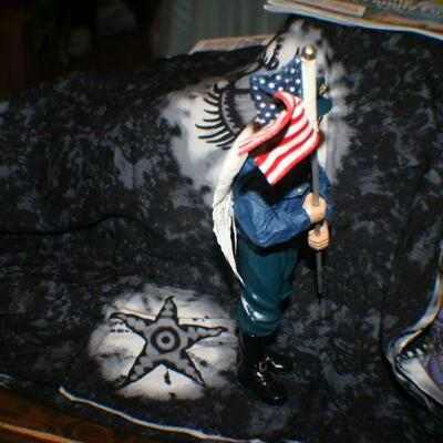 Partial Paper Mache Police Officer Guardian Angel with American Flag