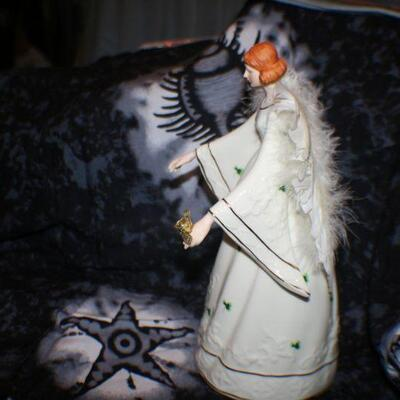 Porcelain Irish Angel Holding Golden Rode with Feather Wings