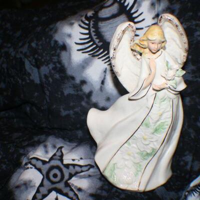 Porcelain Musical Angel Holding Flowers