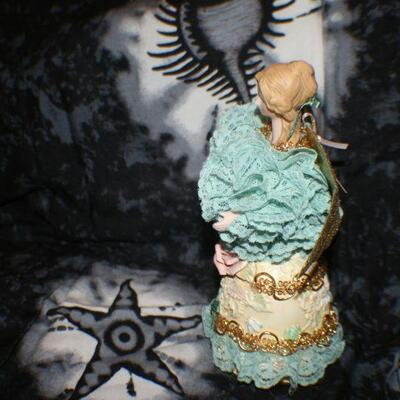 Porcelain Yellow with Green Lace Angel Bell