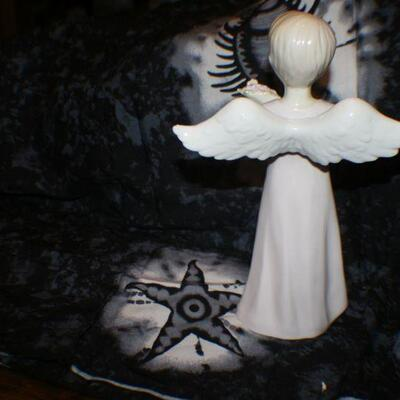 Porcelain Boy Angel with Rose Bouquet