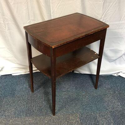 Lot 3 - Solid Wood Side Table with Drawer and Leather Top LOCAL PICKUP ONLY
