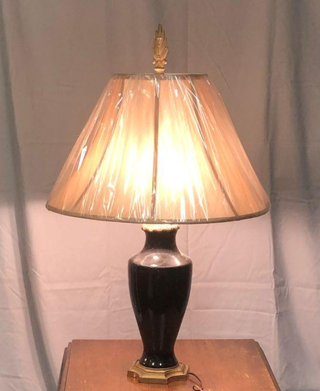 """This lamp has two bulbs with their own pull chains.  I'm having a hard time telling if it is a very dark blue or black. It is in great condition.  The shade is actually a little slope but the plastic protective covering hides that feature.  It is 32"""" tall with the finial."""