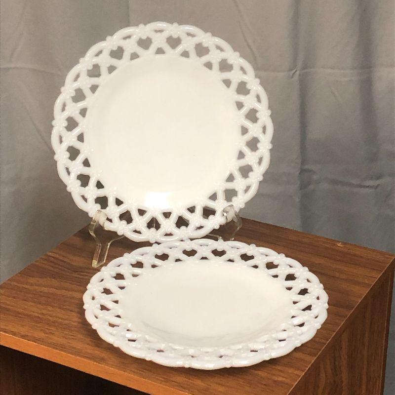 """These two plates are in excellent condition and were made by Westmoreland beginning in 1947.  They are 8.5"""" in diameter and have the Westmoreland mark on the backside of each."""