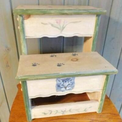 Solid Wood Hand Painted 2-Riser Pet Steps 14