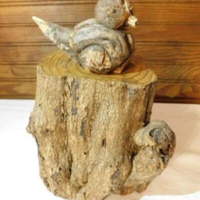 Natural Art Tree Stump with Carved Bird 10