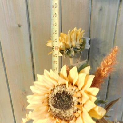 Artificial Sunflowers Arranged in a Tall Glass Bottle Floor Vase with Metal Stand 50