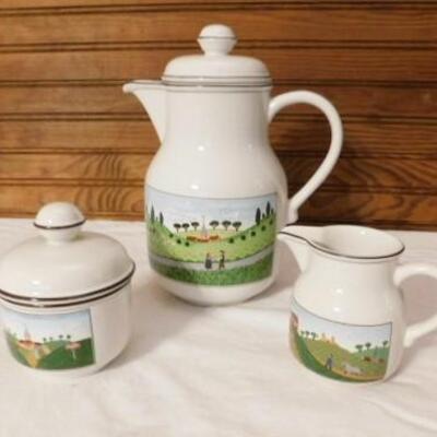 Villeroy  & Boch Naif Design Porcelain Teapot with Creamer and Sugar