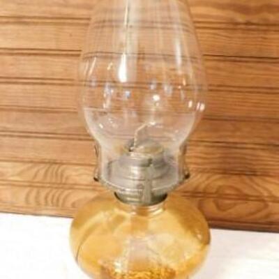 Amber Glass Post Oil Lamp 16