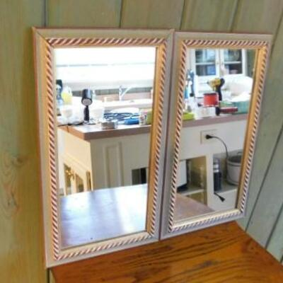 Pair of Matching Framed Accent Wall Mirrors 10