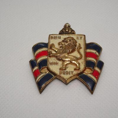 Accessocraft Lion Coat of Arms Brooch, King Richard, Dieu et Mon Droit Heraldry Pin